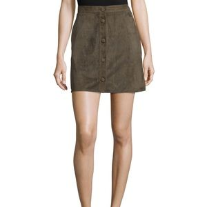 Helmut Lang Front Button Suede Skirt